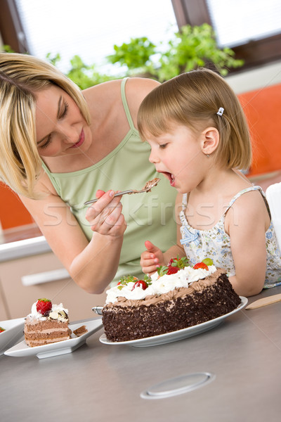 Mother and child tasting chocolate cake in kitchen Stock photo © CandyboxPhoto