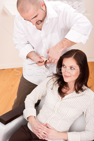 Professional hairdresser comb customer at salon Stock photo © CandyboxPhoto