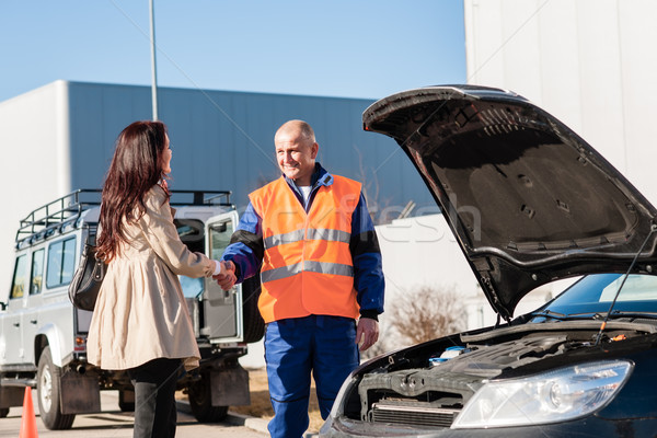 Woman shaking hands with mechanic car breakdown Stock photo © CandyboxPhoto