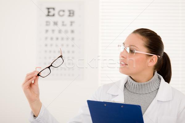 Gözlükçü doktor kadın gözlük göz grafik Stok fotoğraf © CandyboxPhoto