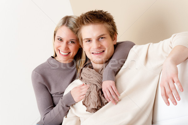 Couple in love - happy relax at home together Stock photo © CandyboxPhoto