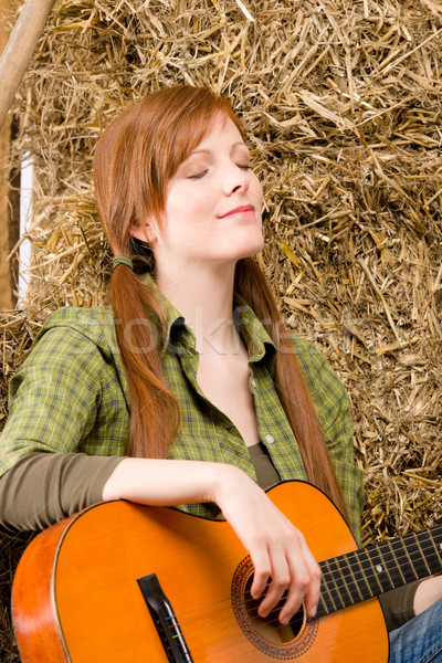 Young country woman relax with guitar Stock photo © CandyboxPhoto