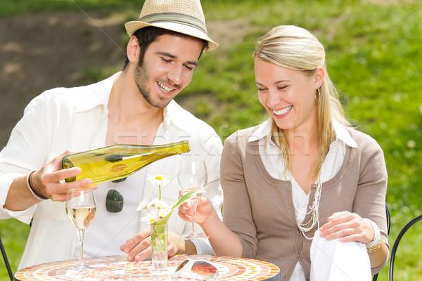 Restaurant terrace elegant couple celebrate sunny day Stock photo © CandyboxPhoto