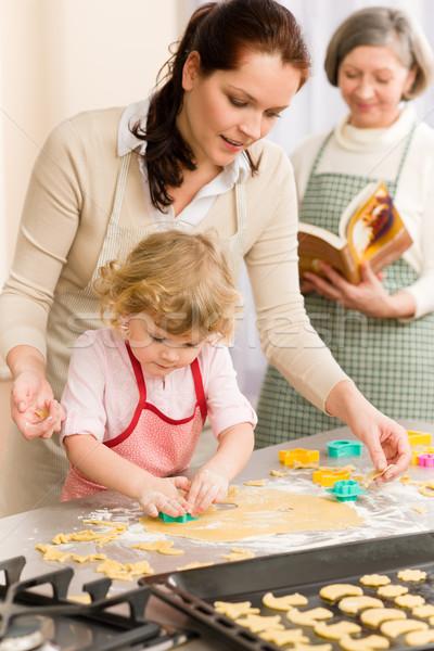 Foto d'archivio: Bambina · madre · fuori · cookies · cucina