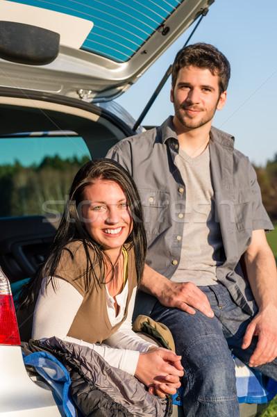 Foto stock: Camping · sorridente · juntos · carro · verão