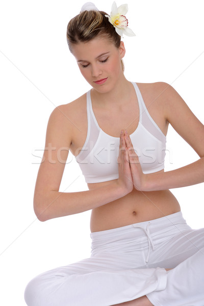 Stock photo: Fitness - Young woman in yoga position on white