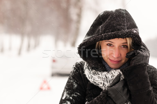 Woman car breakdown snow accident winter road Stock photo © CandyboxPhoto