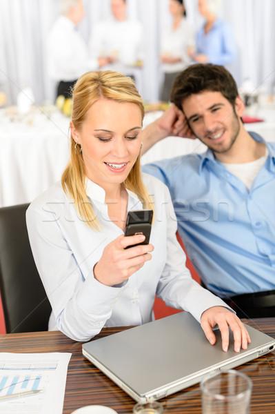 молодые деловой женщины компания буфет вызова телефон Сток-фото © CandyboxPhoto