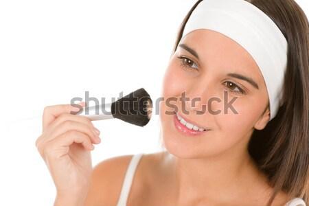 Bőrápolás fiatal nő por sminkecset boldog fiatal Stock fotó © CandyboxPhoto