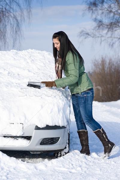 Tél autó nő hó szélvédő ecset Stock fotó © CandyboxPhoto