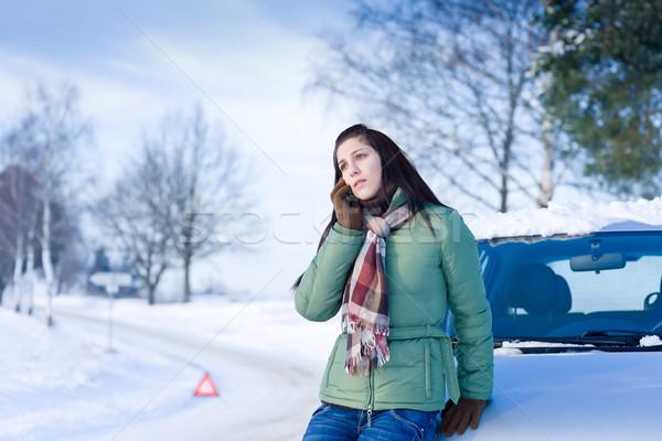 Foto stock: Invierno · coche · mujer · llamada · ayudar · carretera