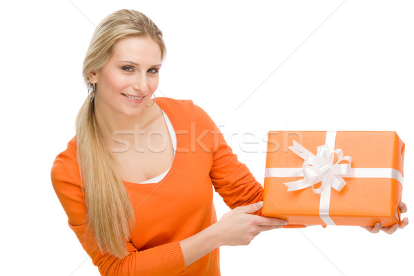 Present woman celebration hold happy Stock photo © CandyboxPhoto