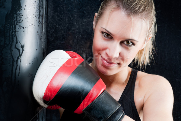 Boxing training woman with gloves in gym Stock photo © CandyboxPhoto