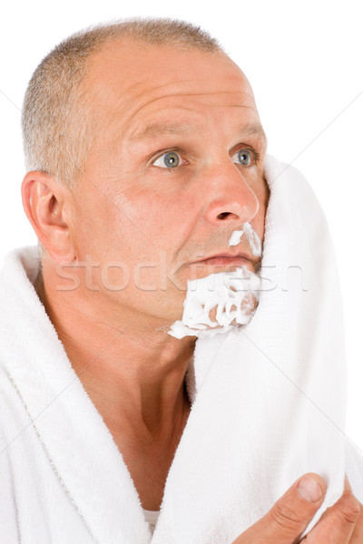 Male cosmetics - Mature man aftershave wipe foam Stock photo © CandyboxPhoto