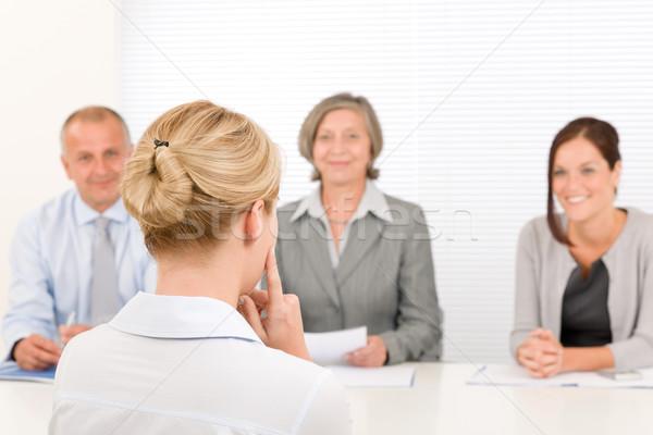 Foto stock: Equipo · de · negocios · negocios · entrevista · profesional