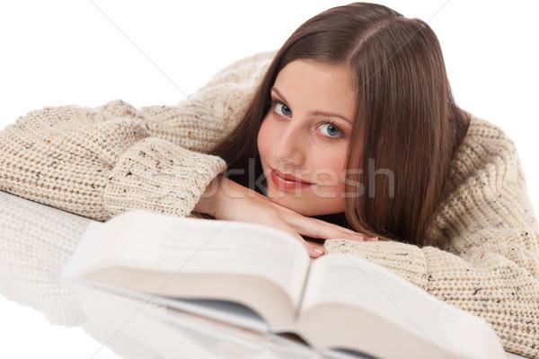 Portre genç mutlu kadın kitap Stok fotoğraf © CandyboxPhoto