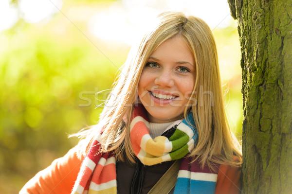 Sorridere adolescente ragazza boschi albero Foto d'archivio © CandyboxPhoto