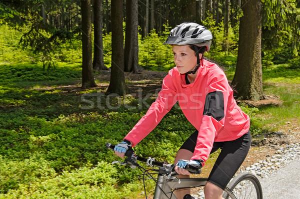 女性 マウンテンバイク 森林 サイクリング パス ストックフォト © CandyboxPhoto