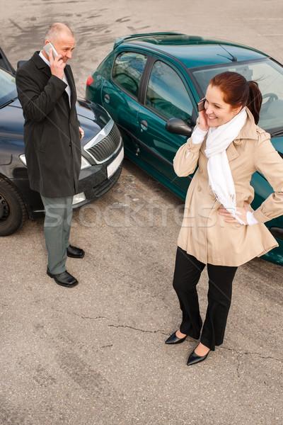 Nő férfi telefon autó csattanás baleset Stock fotó © CandyboxPhoto
