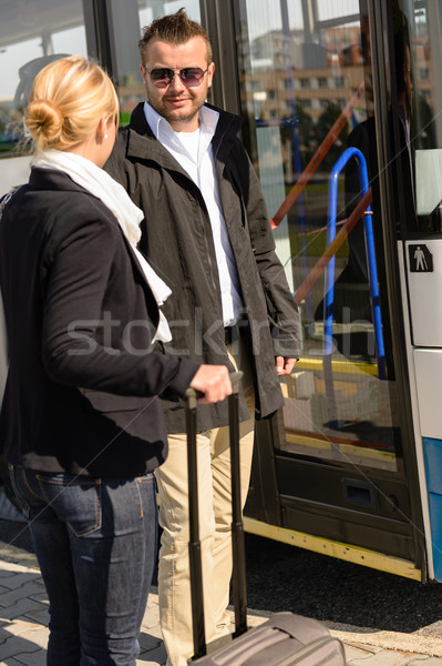 Woman and man talking in bus station Stock photo © CandyboxPhoto
