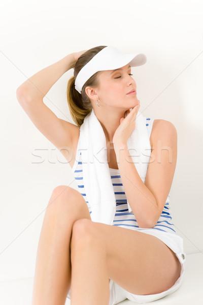 Stok fotoğraf: Spor · genç · kadın · yaz · uygunluk · portre · genç