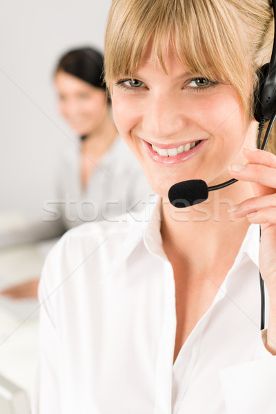 Customer service woman call center phone headset Stock photo © CandyboxPhoto