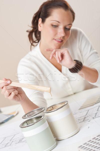 Női belsőépítész festék iroda ház terv Stock fotó © CandyboxPhoto