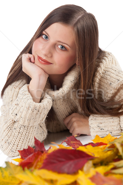 Otono retrato mujer hermosa hoja cuello de tortuga Foto stock © CandyboxPhoto