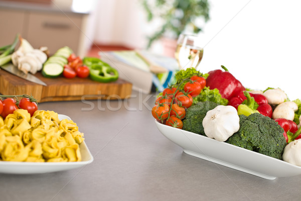 Cooking Italian food - pasta, tomato and vegetable Stock photo © CandyboxPhoto