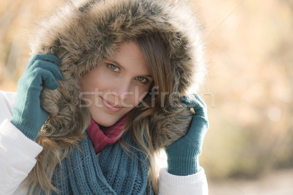 Winter fashion - woman with fur hood Stock photo © CandyboxPhoto