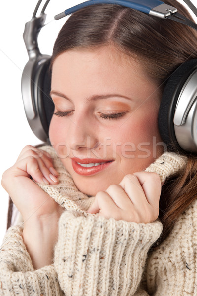 Retrato feliz mujer música auriculares Foto stock © CandyboxPhoto