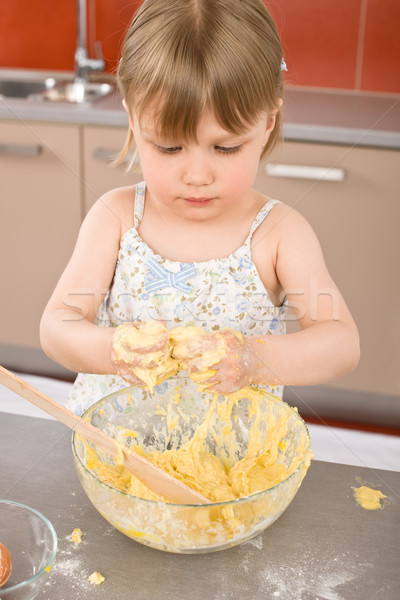 Child baking - little girl kneading dough Stock photo © CandyboxPhoto