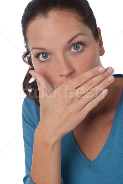 женщину ударных белый синий Сток-фото © CandyboxPhoto