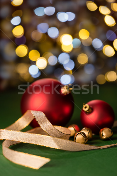 Red Christmas baubles & gold jingle bells Stock photo © CandyboxPhoto