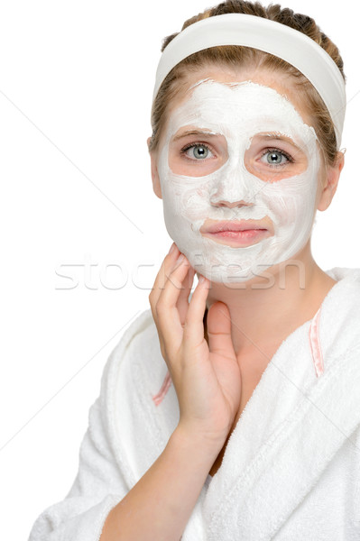 Anxious teenager girl applying face mask cleaning  Stock photo © CandyboxPhoto