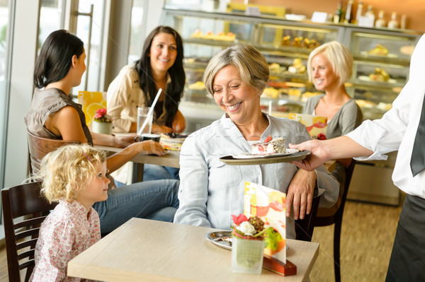 Grandmother and grandchild waiting cake order cafe Stock photo © CandyboxPhoto