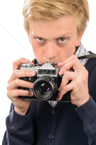 Gyanús fiú fényképezés retro kamera tizenéves fiú Stock fotó © CandyboxPhoto