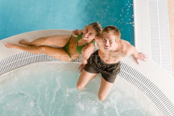 üst görmek çift dinlenmek yüzme havuzu Stok fotoğraf © CandyboxPhoto