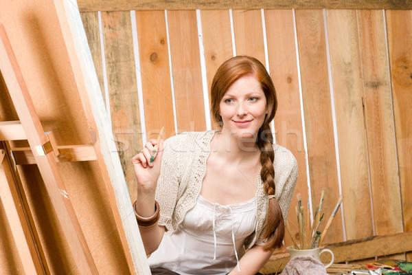 Romantische vrouw schuur schilderij land jonge Stockfoto © CandyboxPhoto