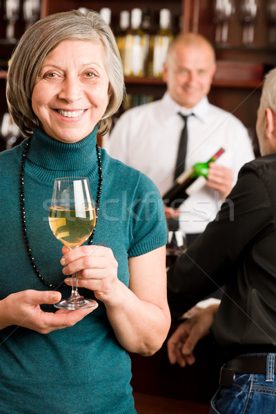 Wine bar senior woman barman discussing Stock photo © CandyboxPhoto