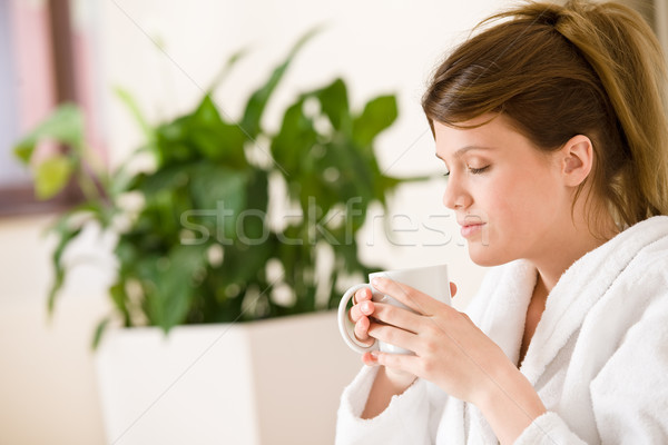 Young woman in white bathrobe with coffee  Stock photo © CandyboxPhoto