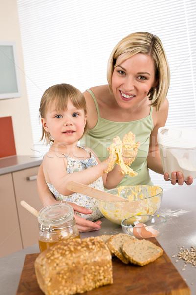 Foto stock: Mulher · criança · saudável · ingredientes · família