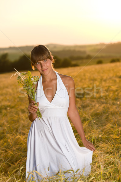 Romantic woman in sunset corn field wear dress Stock photo © CandyboxPhoto