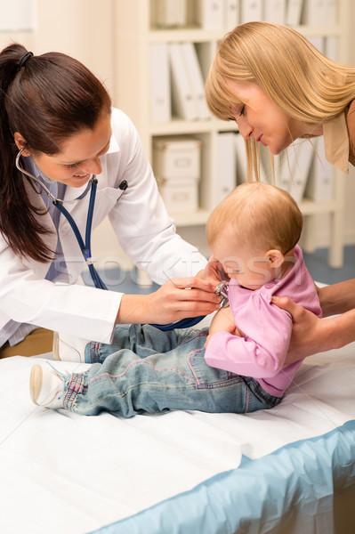 Gyermekorvos baba sztetoszkóp aranyos iroda orvosi Stock fotó © CandyboxPhoto
