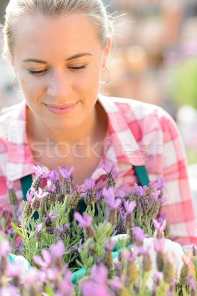 Garden center woman with purple potted plant Stock photo © CandyboxPhoto