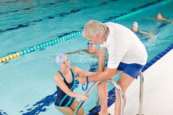 Piscina treinador treinamento competição piscina Foto stock © CandyboxPhoto