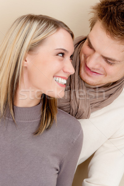 Stock photo: Couple in love - happy relax at home together