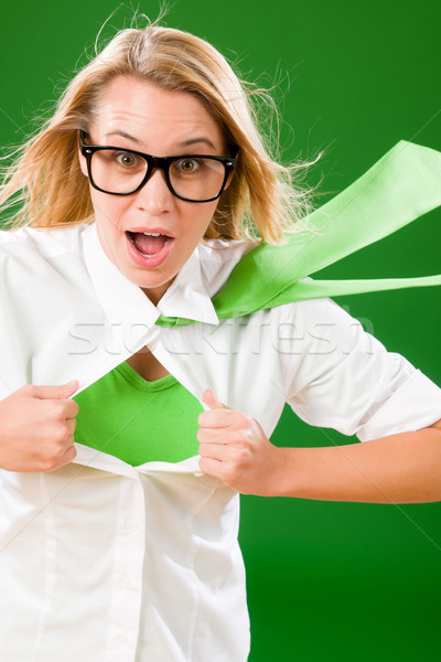 Green Superhero Businesswoman crazy face Stock photo © CandyboxPhoto