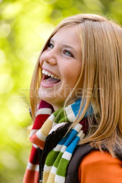笑い ブロンド 若い女の子 自然 気楽な 秋 ストックフォト © CandyboxPhoto