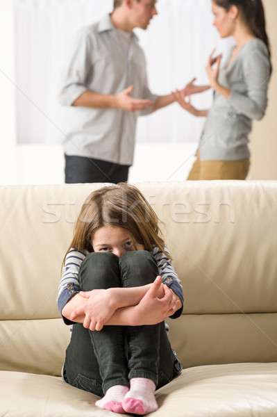 Scared little girl listening to parents argument Stock photo © CandyboxPhoto